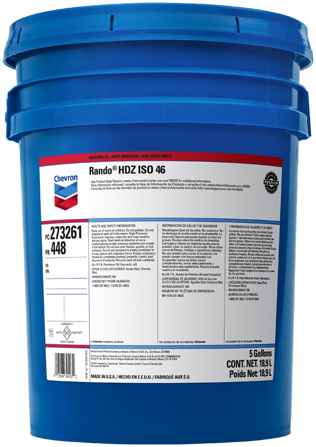 Rando HDZ Hydraulic Oil | Chevron Lubricants (US)